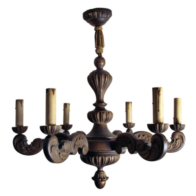 Vintage Swedish Carved Wood Rococo Style 6 Arm Chandelier