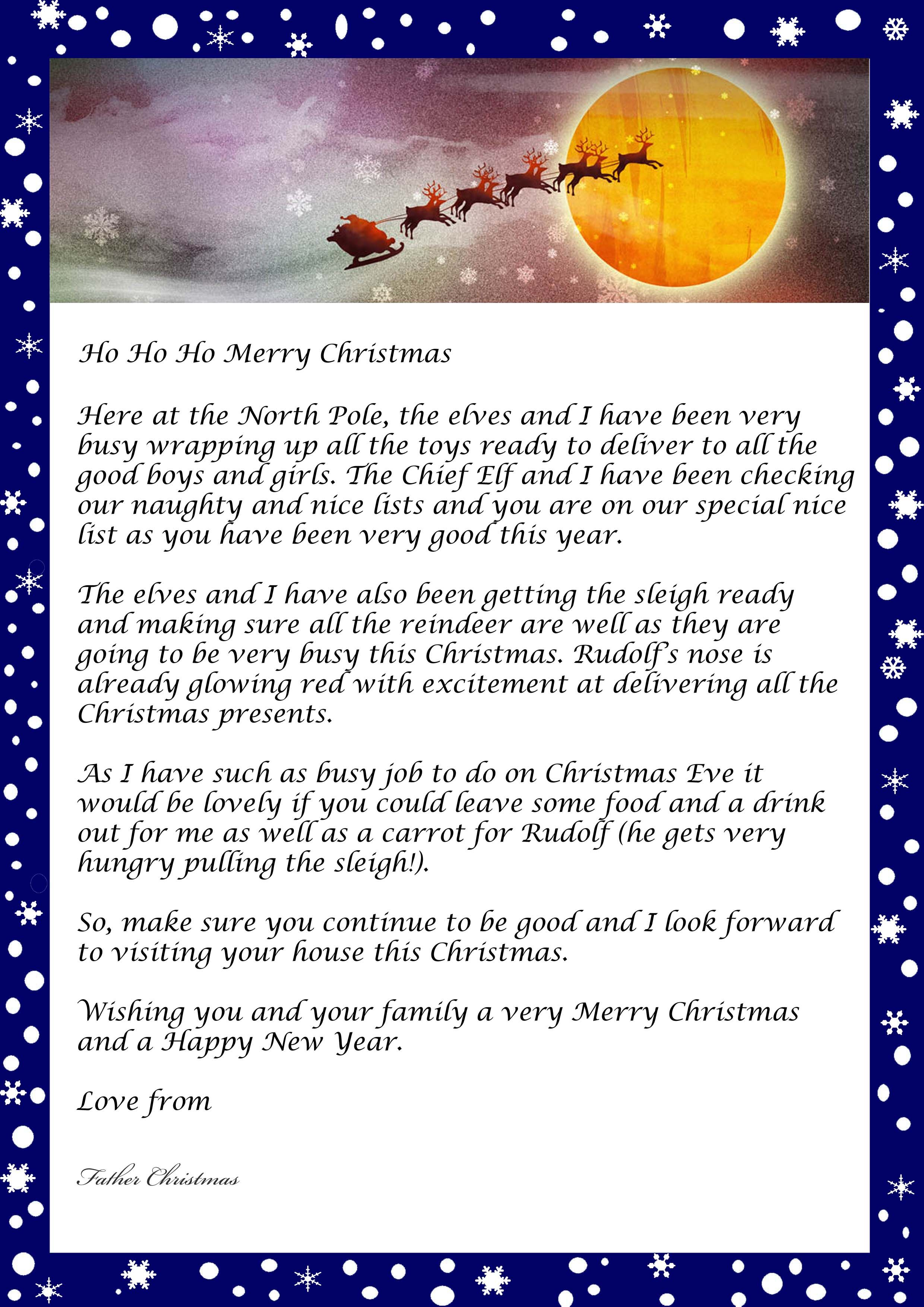 Letter From Father Christmas Free Printable Template 2 480 3 508 Pixels