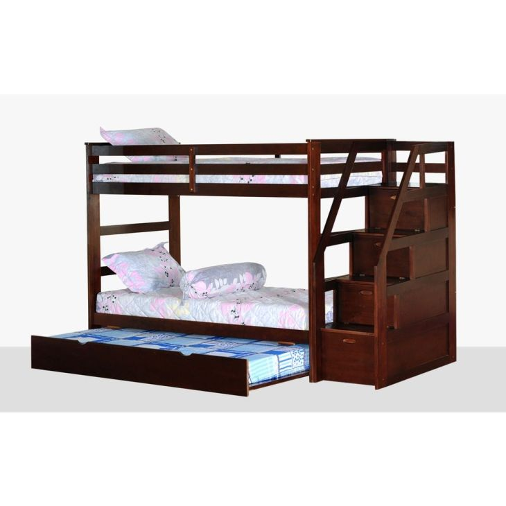 Twin Over Twin Bunk Bed with Trundle and Storage Steps  Bunk bed