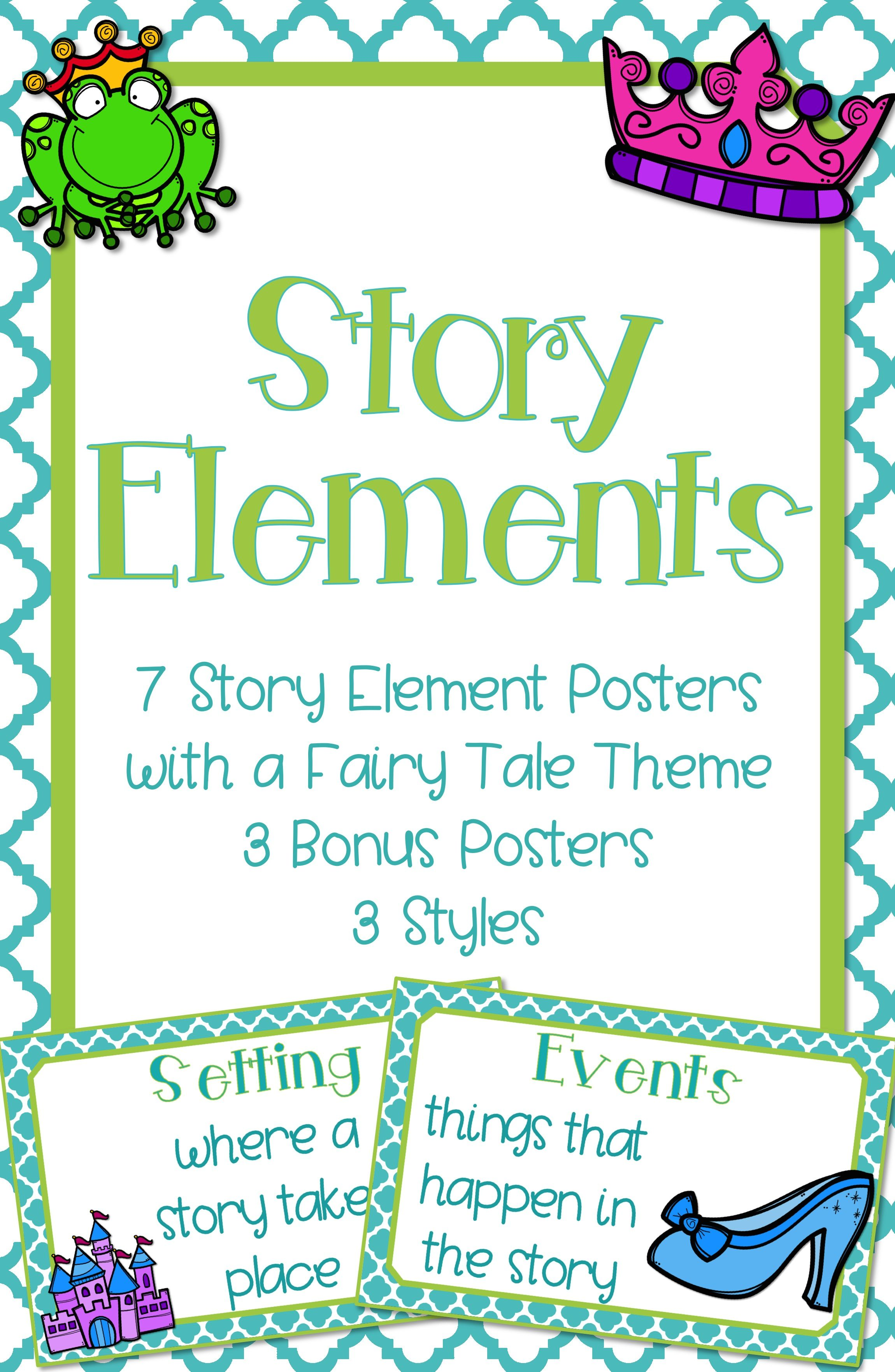 Story Element Posters Fairy Tale Theme Classroom