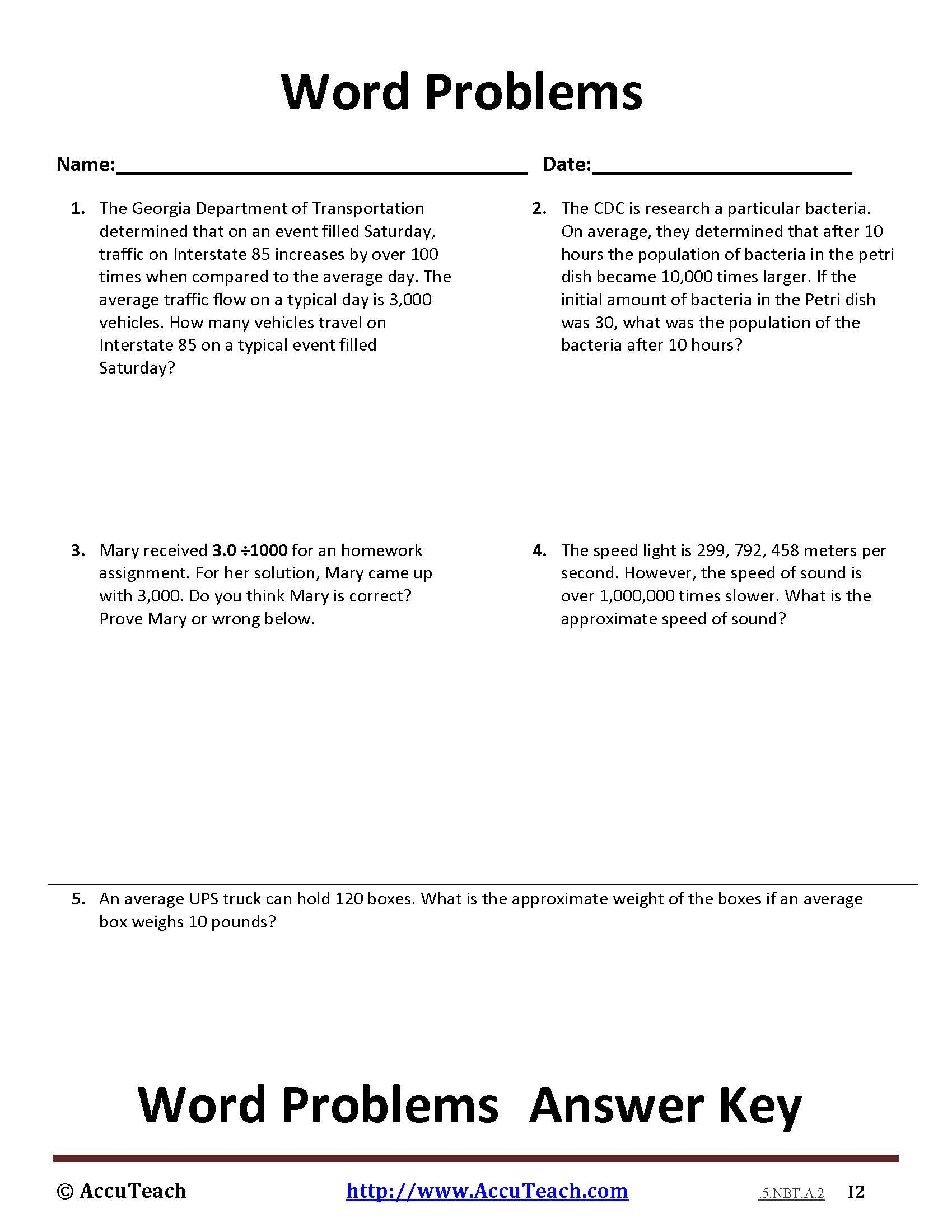 1 Powers Of Ten Word Problem 5 Nbt A 2 Page 1