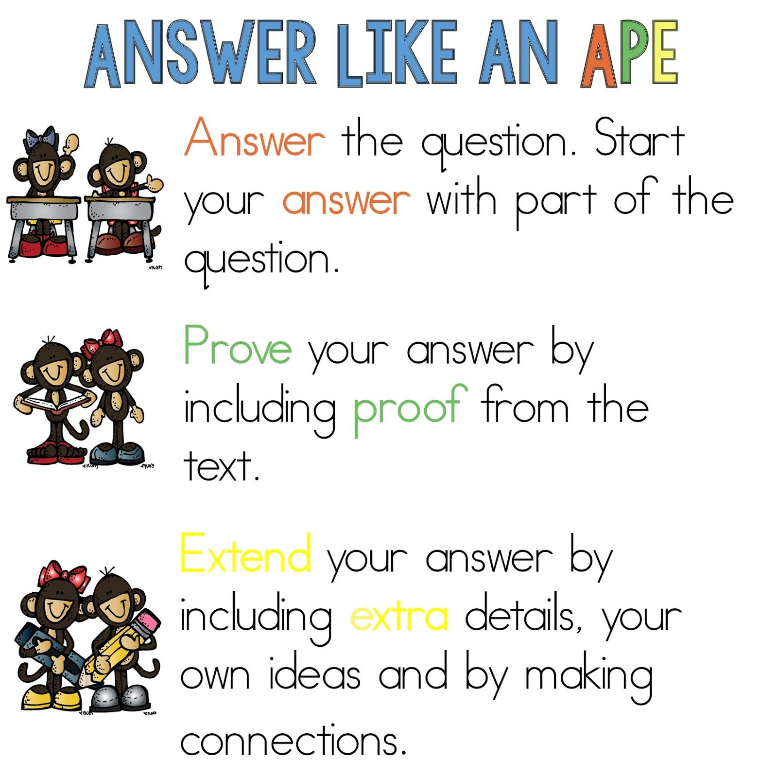 Answer Like An Ape Reading Response Poster And Student