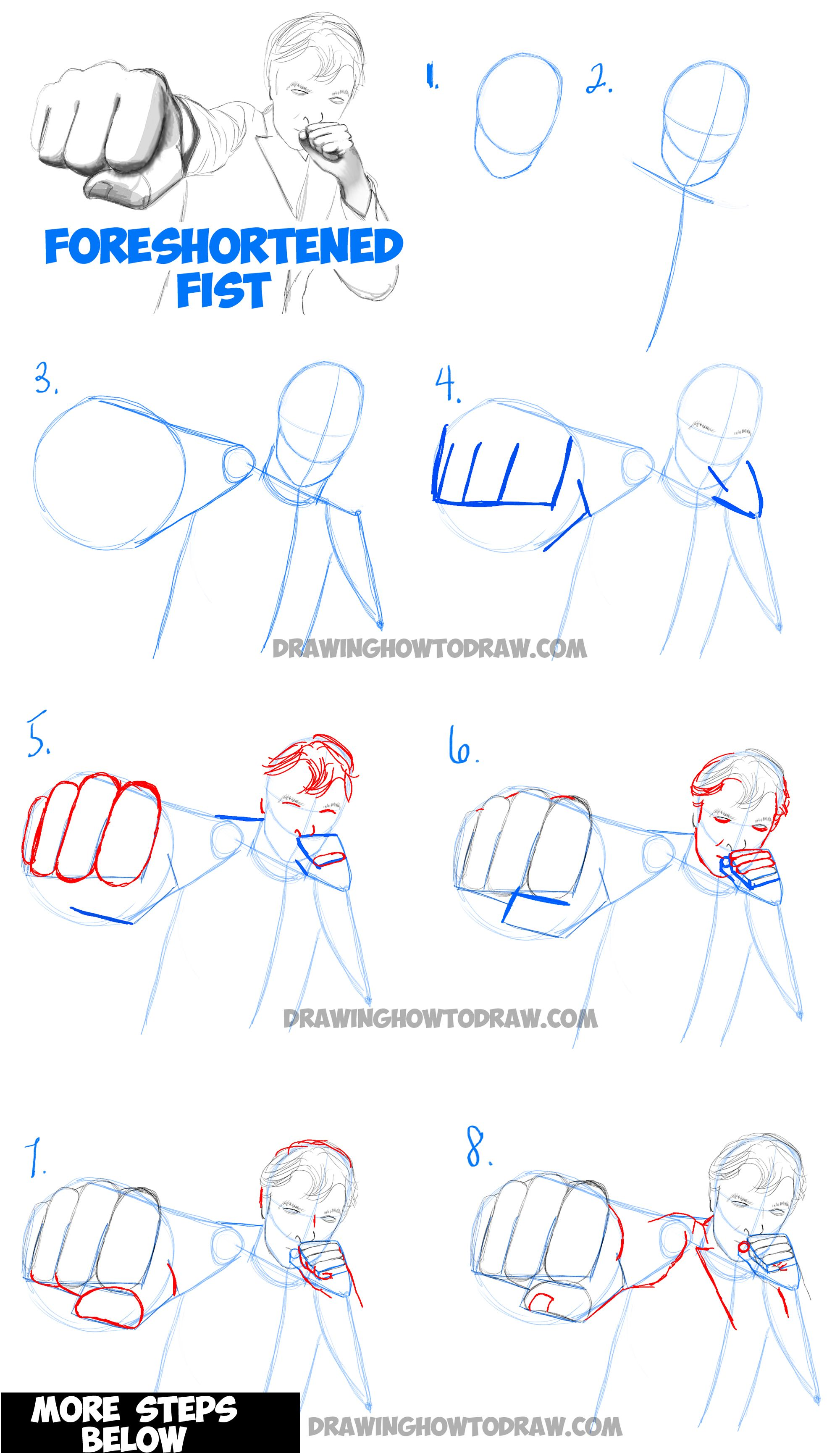 Learn How To Draw Foreshortened Fists Step By Step
