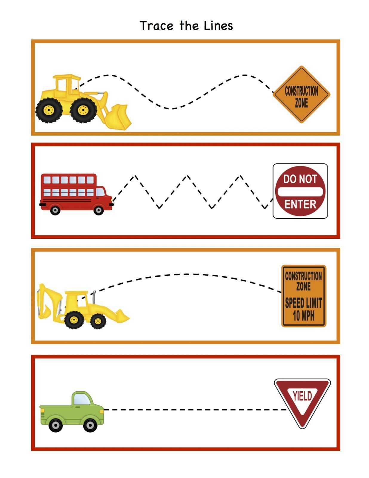 Traffic Signs Worksheets Preschool