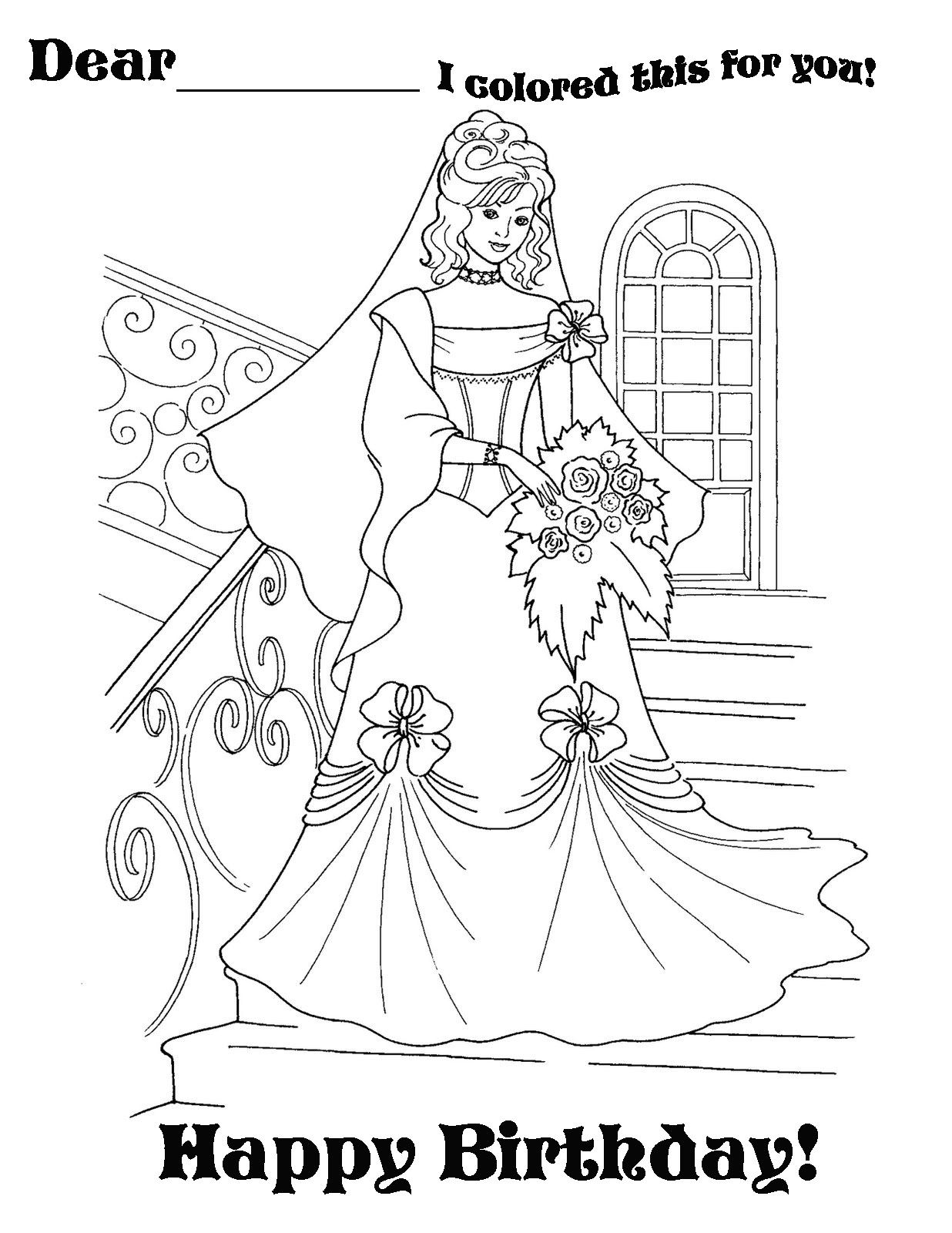 Princess Happy Birthday Kids Eclectic Coloring Pages