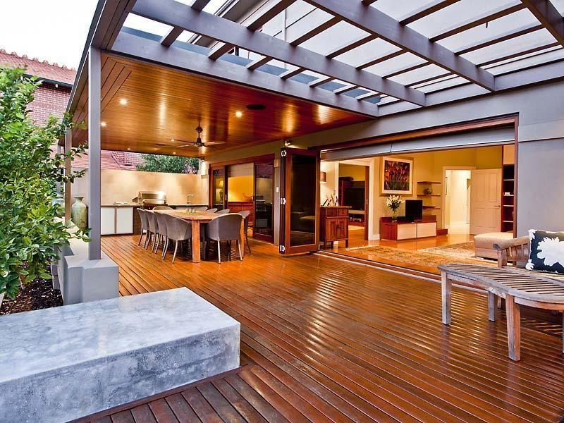 Indoor-outdoor outdoor living design with verandah ... on Fancy Outdoor Living id=51304
