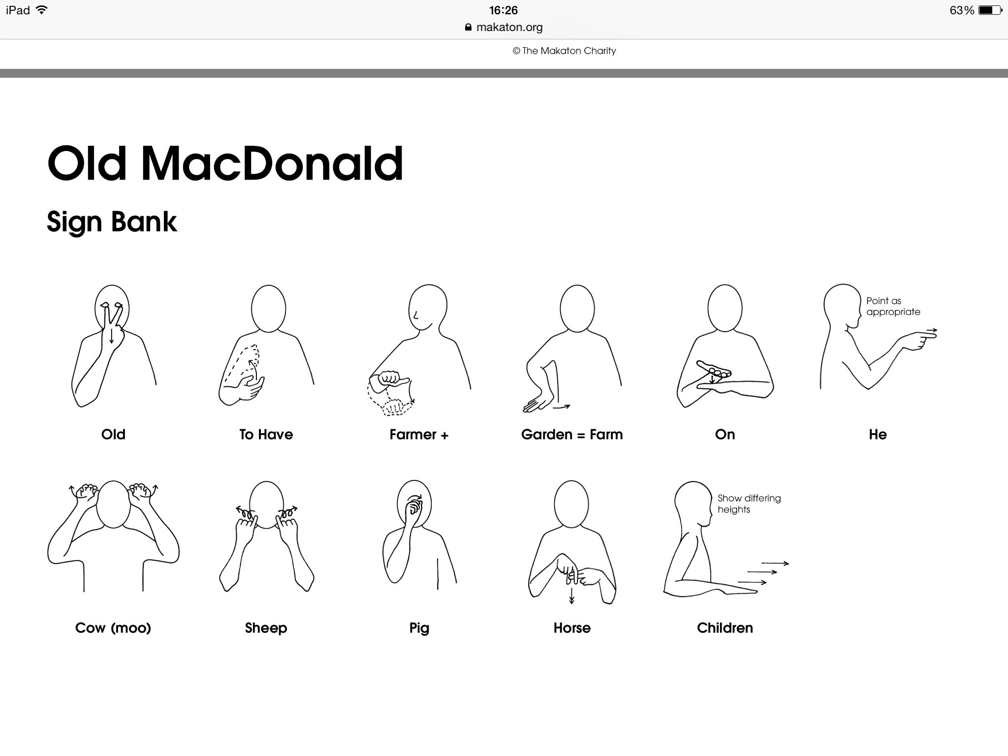 Makaton Signs For Old Macdonald Had A Farm S Katon Assets Store Downloads