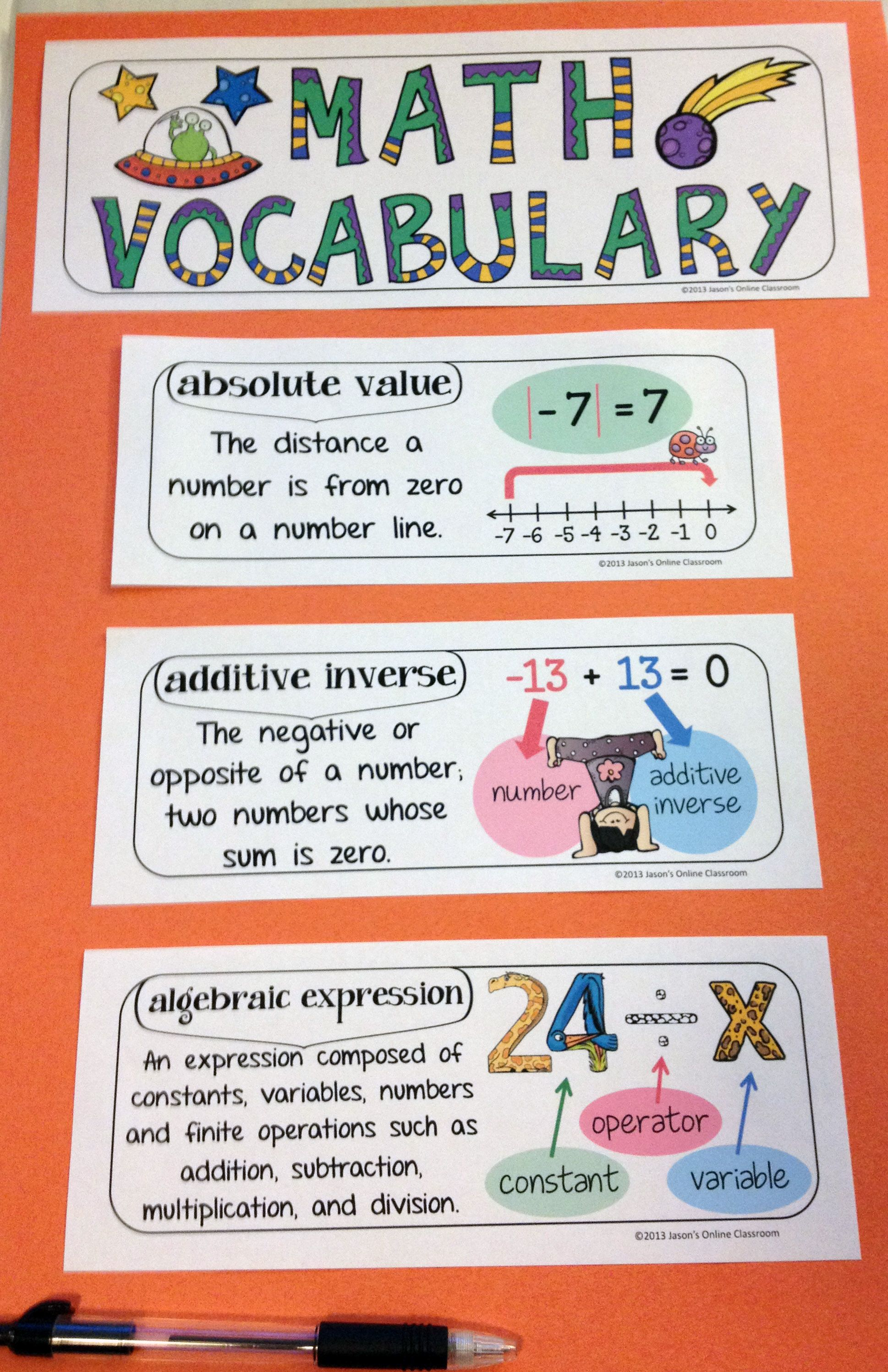 Interactive Math Notebook Word Wall Vocabulary Grade 6
