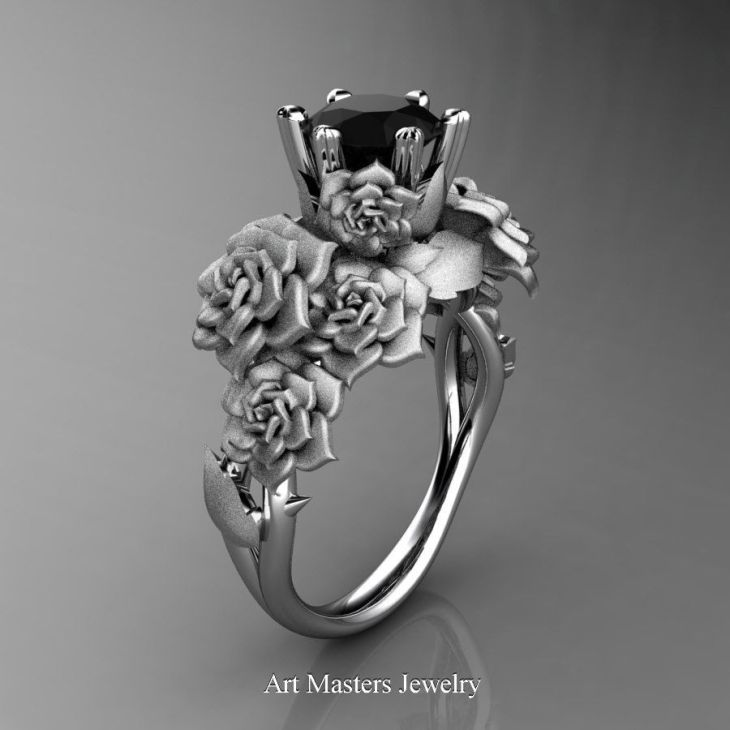 Nature Inspired K White Gold Ct Black Diamond Rose Bouquet