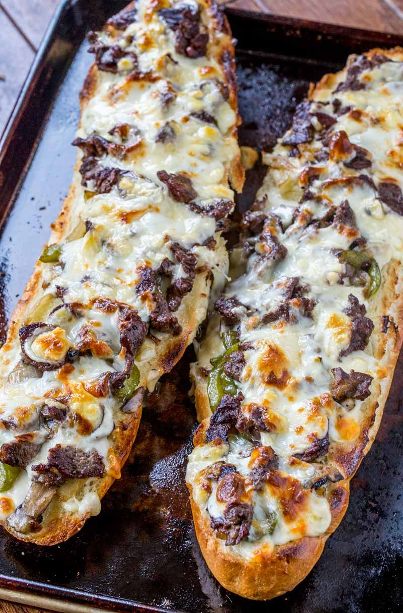 Philly Cheese Steak Cheesy Bread with just a few ingredients is the taste of Philly for a crowd!