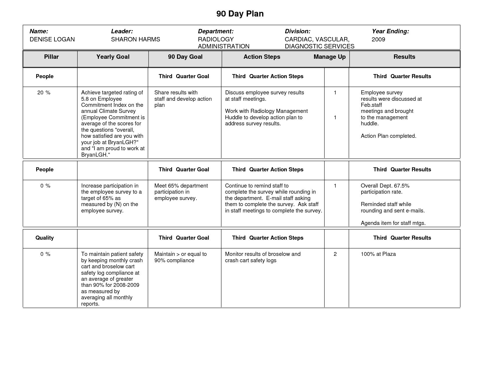 Sample 90 Day Plan Template