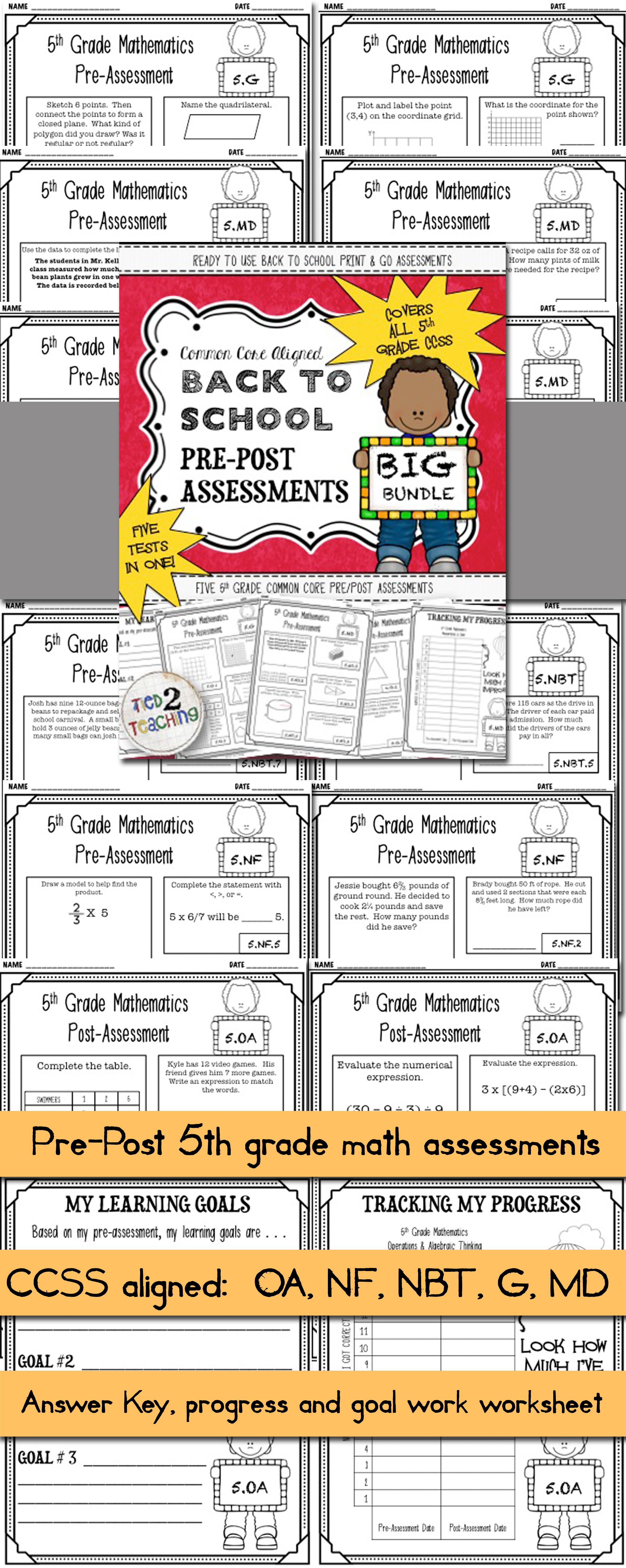 Back To School 5th Grade Math Ccss Pre Post Assessments Bundle 5