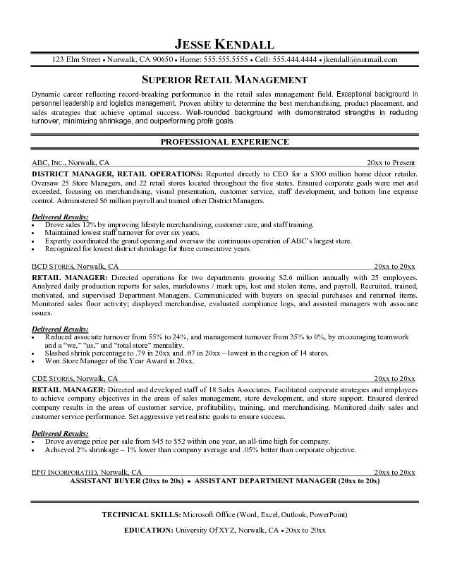 Examples Of Resume Objectives For Retail Management Work  Sales Manager Resume Objective