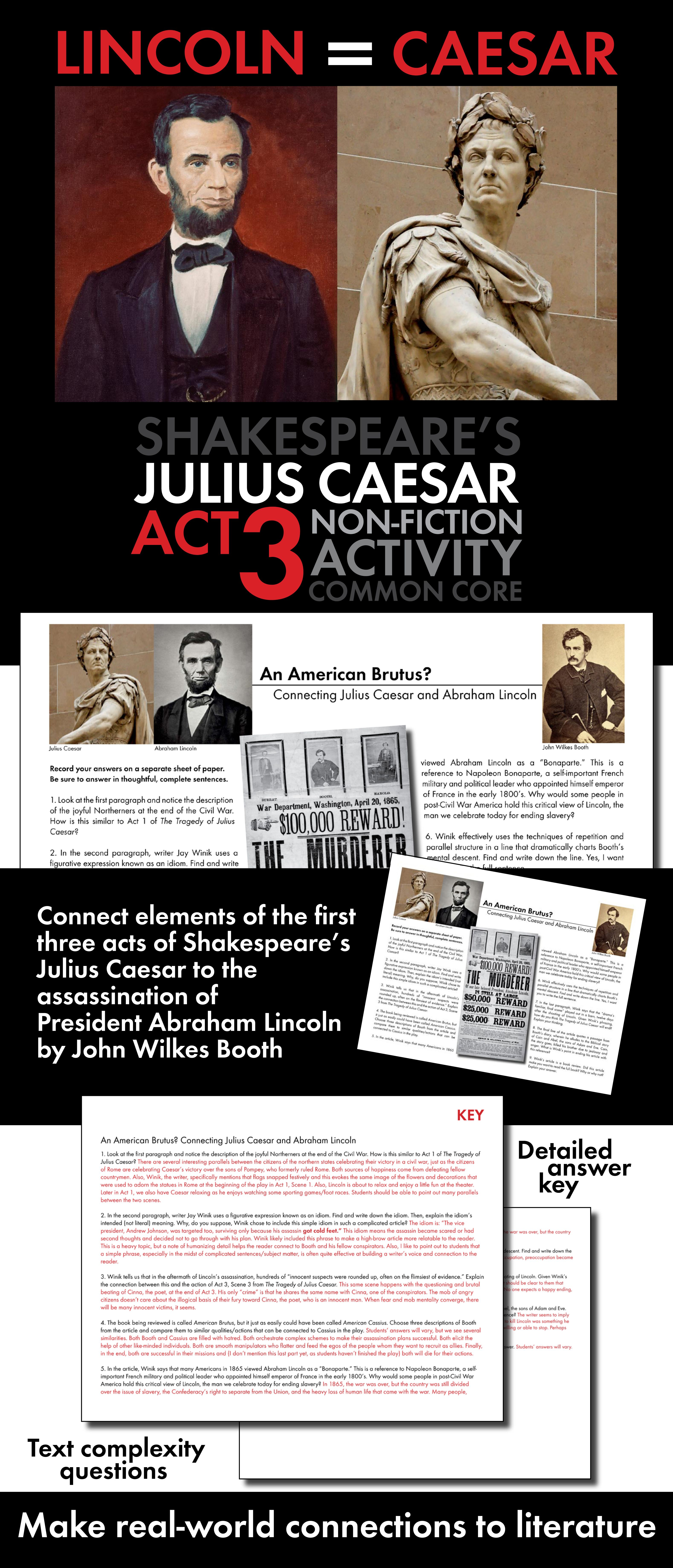 Julius Caesar Amp Abraham Lincoln Non Fiction Connect Shakespeare To Real Life