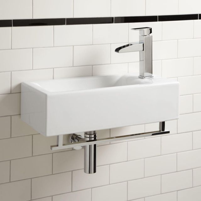 Leiden Porcelain Wall Mount Sink with Towel Bar