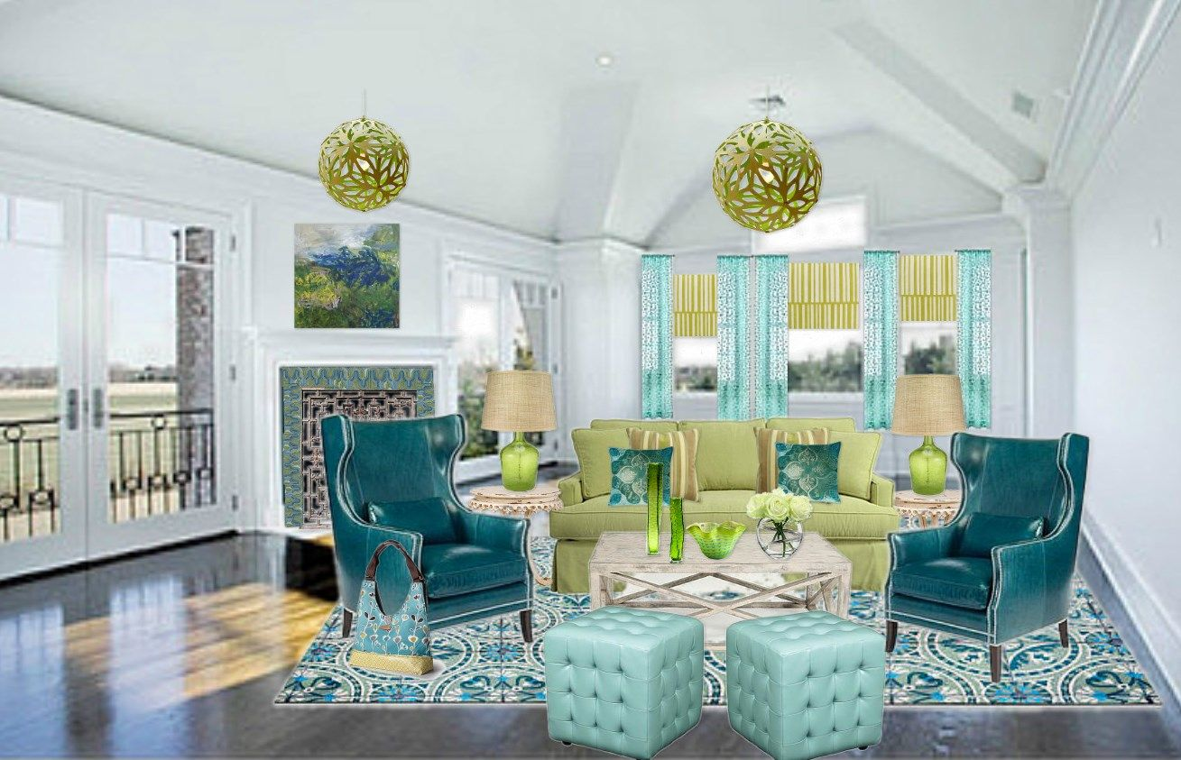 living rooms with yellow blue green orange | blue green and yellow