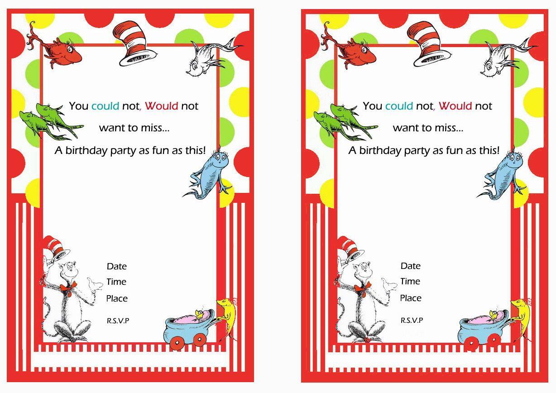 Dr Seuss Free Printable Birthday Party Invitations Birthday Party Invitations