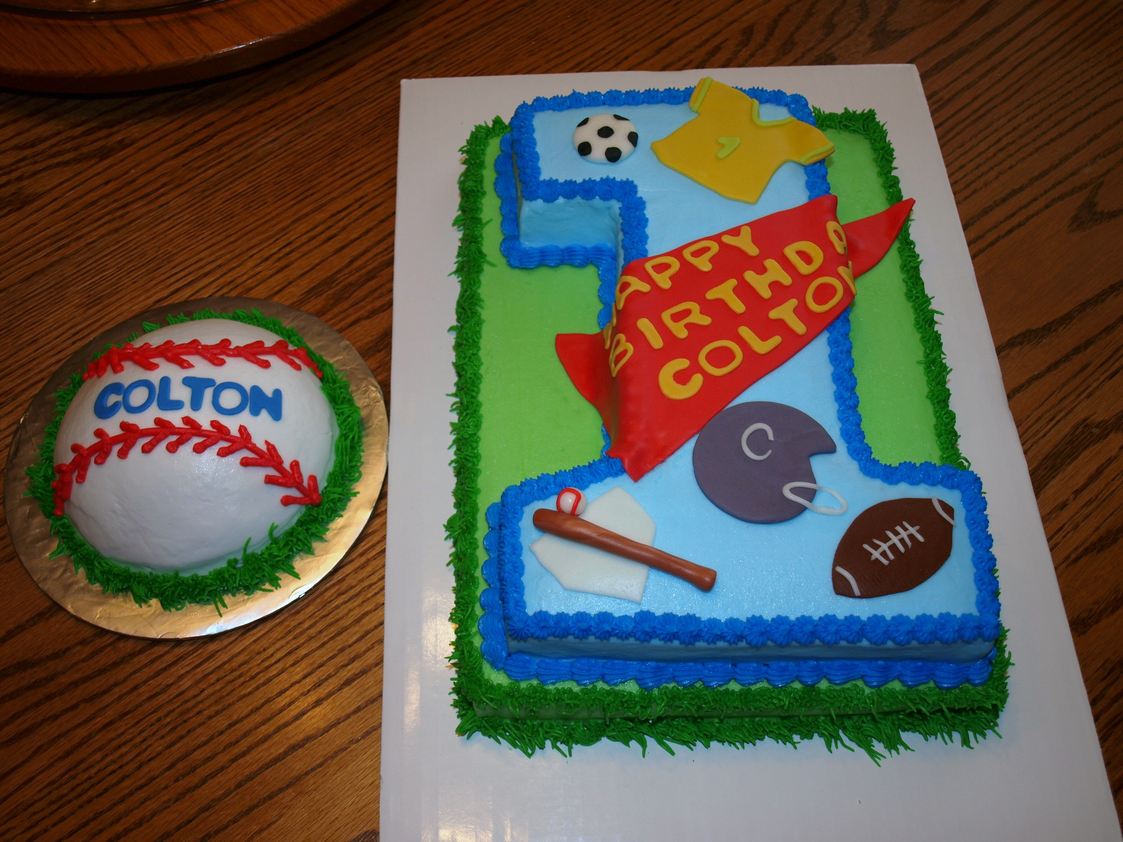 Sports Themed First Birthday Cake With Baseball Smash Cake