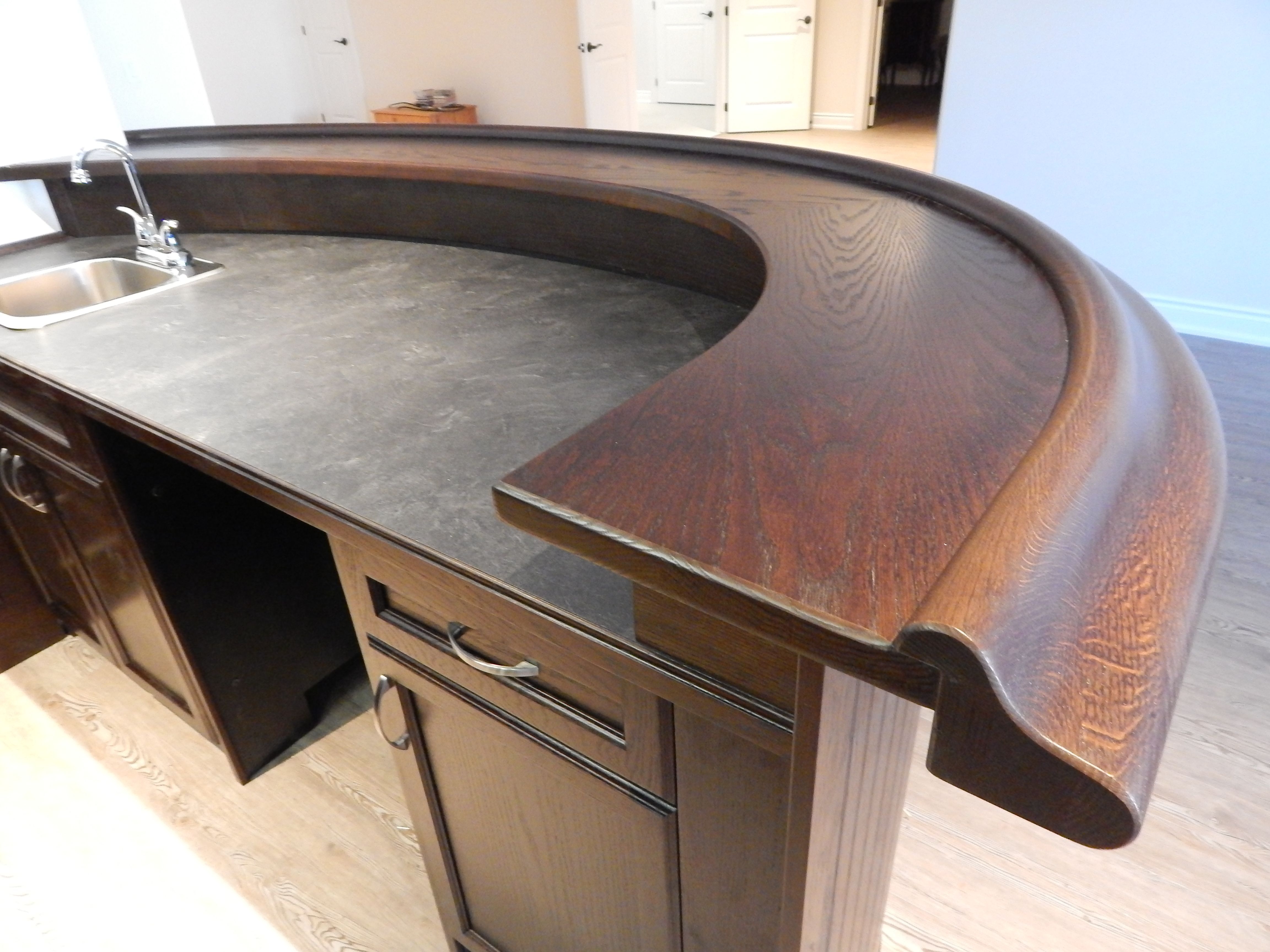 Solid Oak Bar Top And Bar Rail With Laminate Counter Top