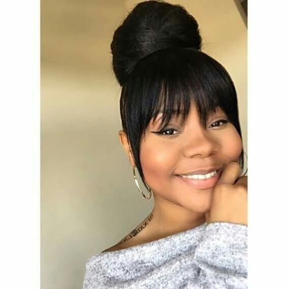 High bun with bang  Black Hairstyles  Pinterest High