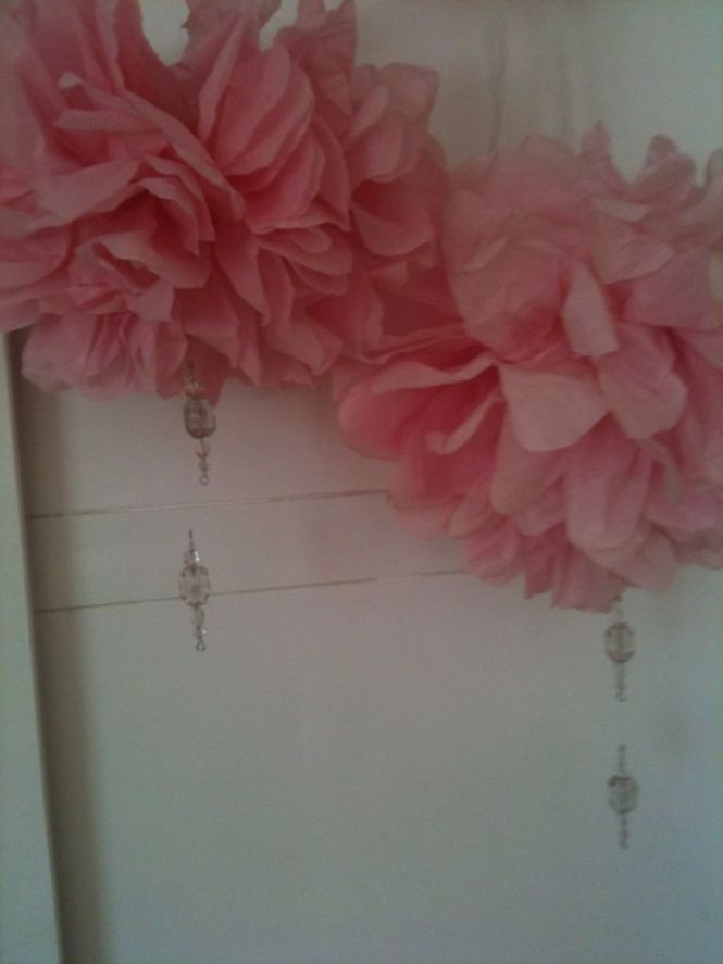 Tissue Paper Chandeliers With Hanging Crystals For My Natalie S Tea Party