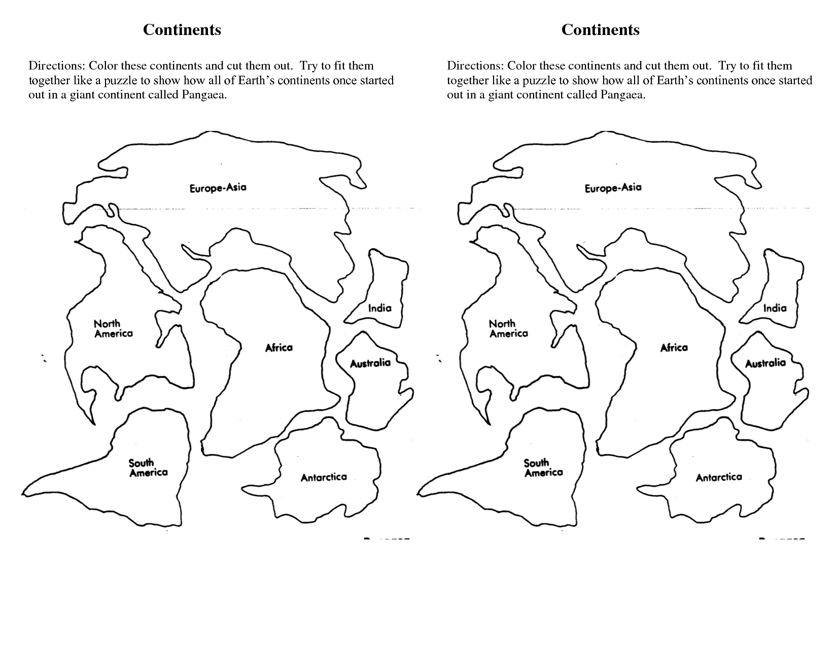 Continents Of The World Worksheets Continents