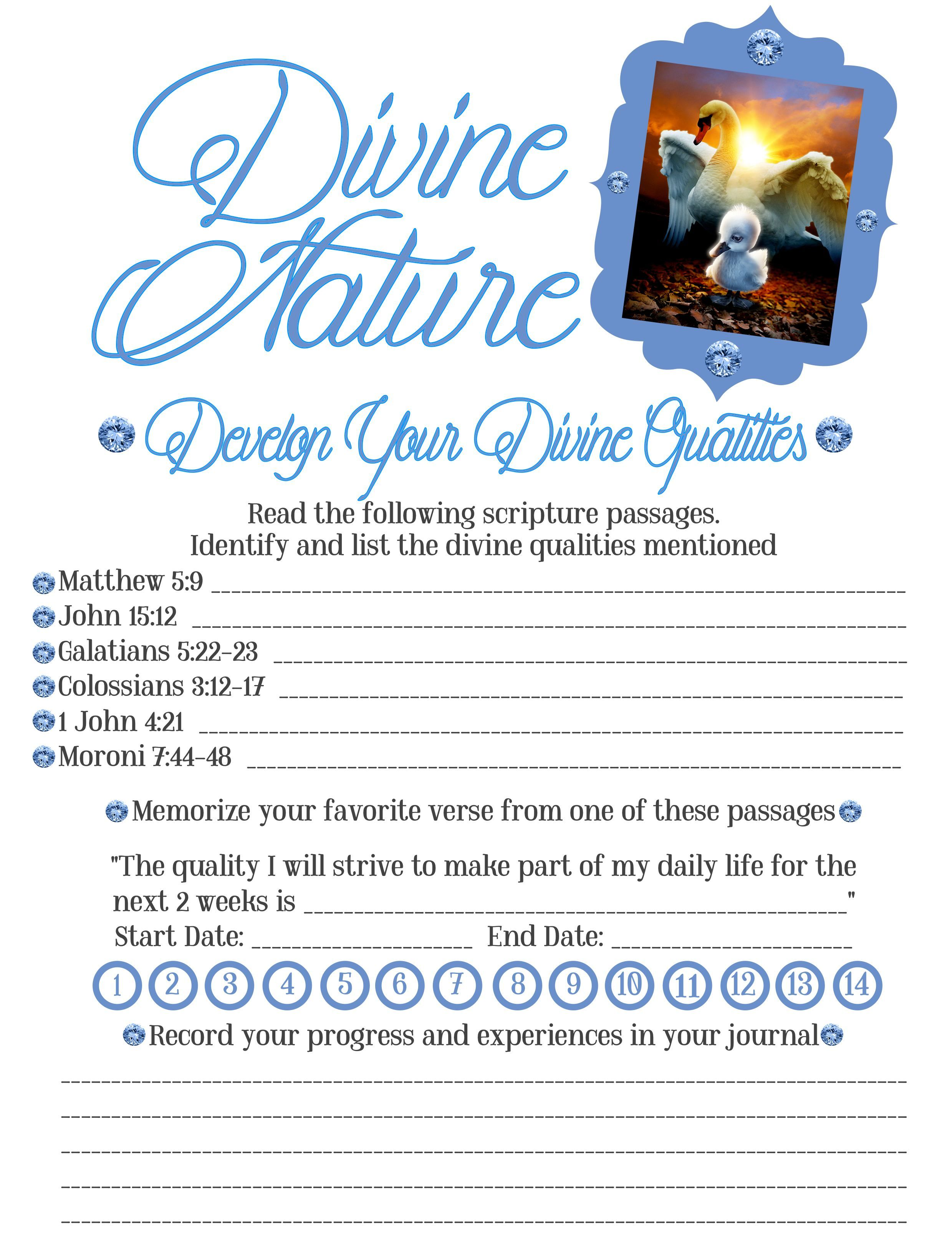 Divine Nature 6 Worksheet To Go Along With Our Wednesday Night Activity About Who We Are And