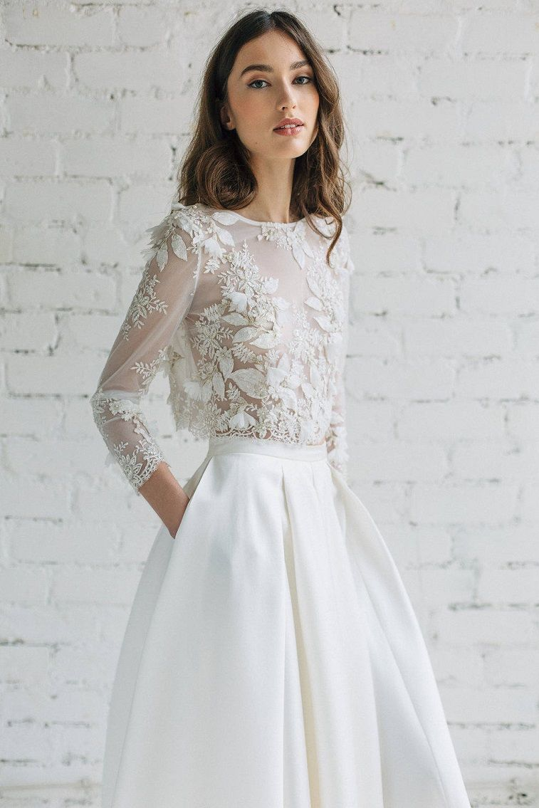 Long sleeve lace crop top wedding dress 1 | Top Ideas To Try ...