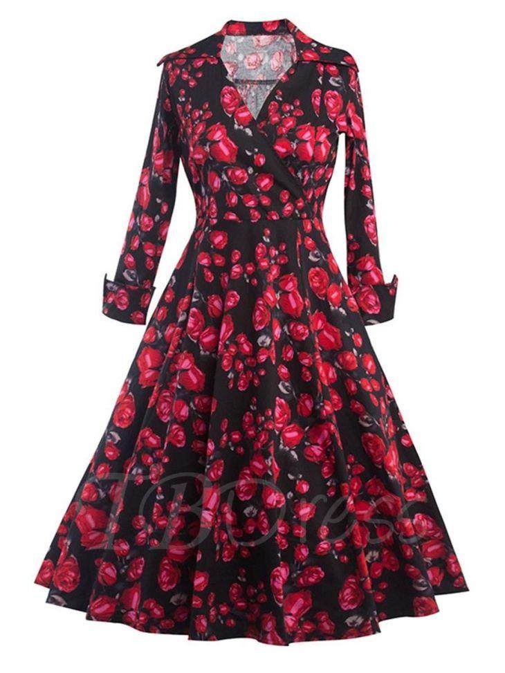 TBDress  TBDress Black Printed Vintage Womens Long Sleeve Dress