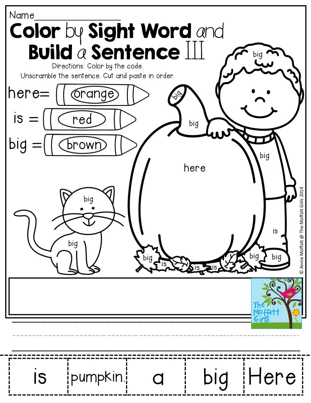 Color By Sight Word And Build A Simple Sentence So Many