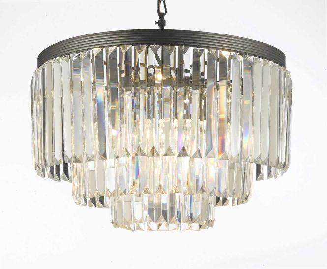 G7 1100 Gallery 18th 19th Century Art Retro Odeon Crystal Glass Fringe 3 Chandelier Lightingcrystal