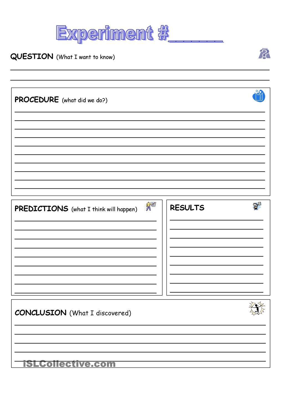 Experiment Rec D Sheet High School Science P Terest