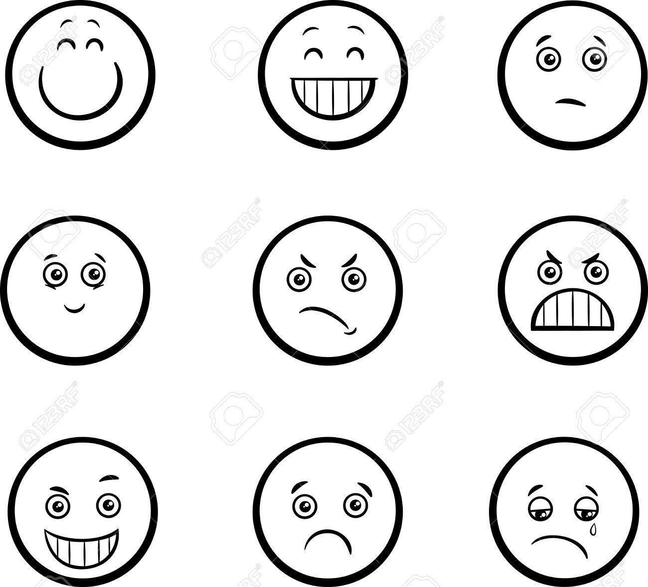 Black And White Cartoon Illustration Of Emoticon