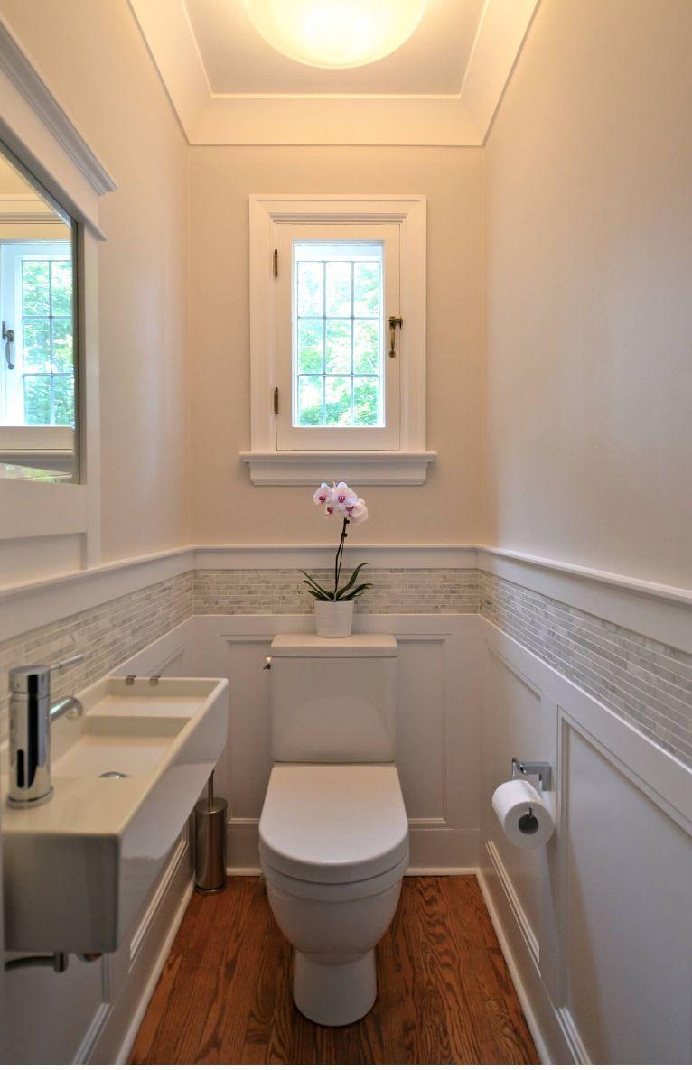 Small bathroom. Good wainscoting with tile detail ... on Small Bathroom Ideas Pinterest id=55358