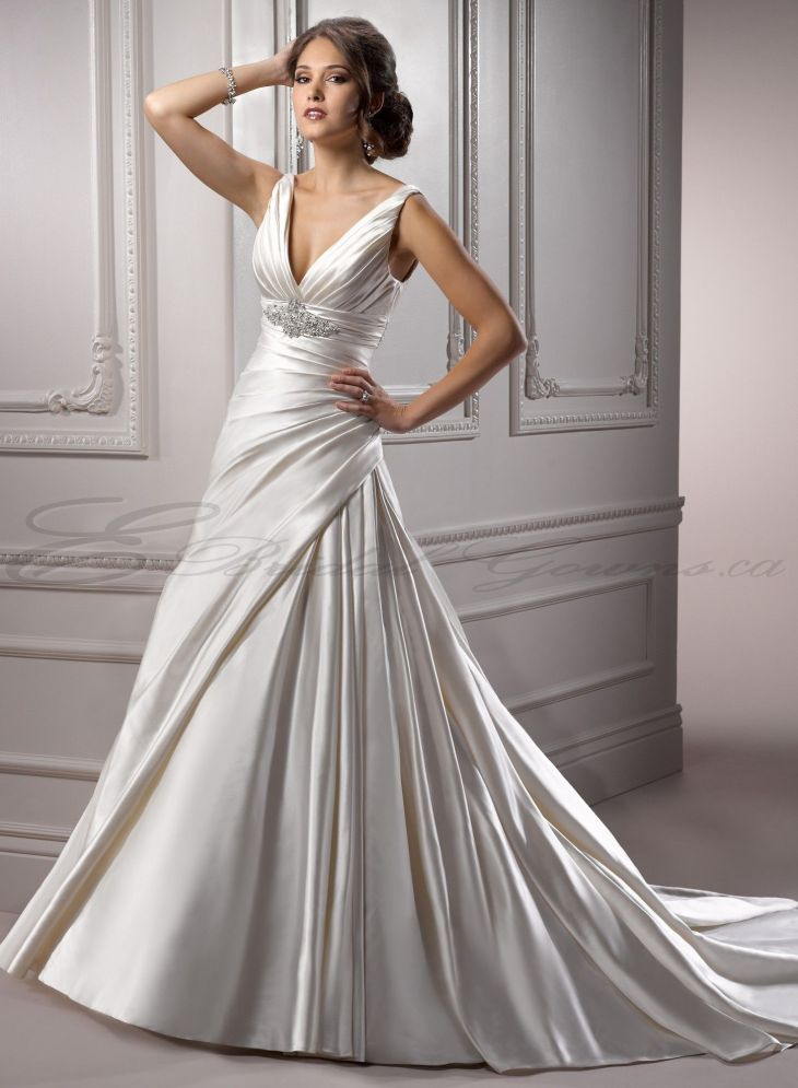 deep v neck wedding gown   Satin Aline Deep Vneck Wedding