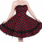 Red u black polka dot strapless dress red polka dot dress