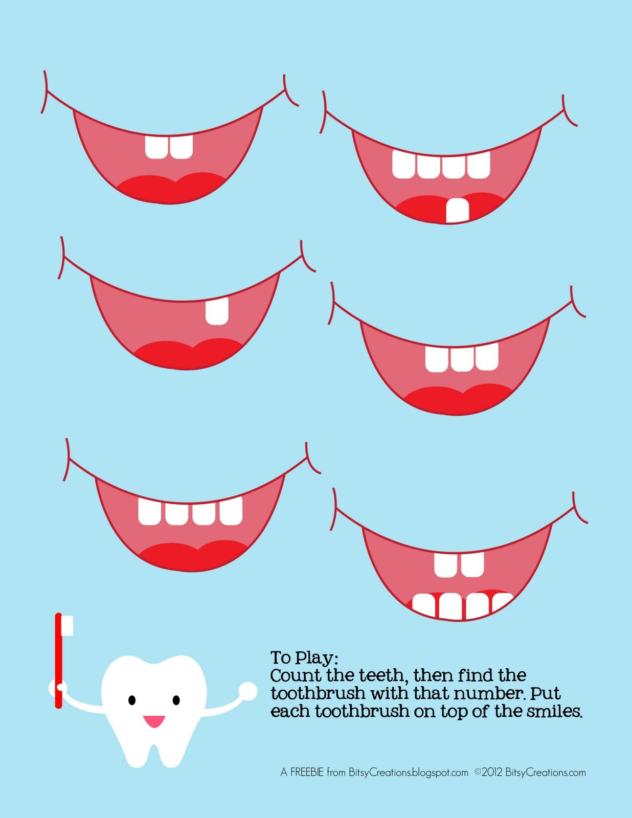 Community Helpers Dentist Free Preschool Tooth Counting