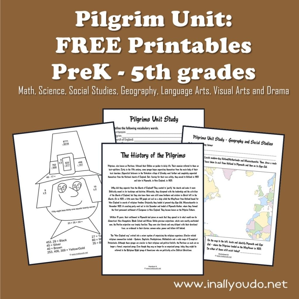 Pilgrim Unit Free Printables