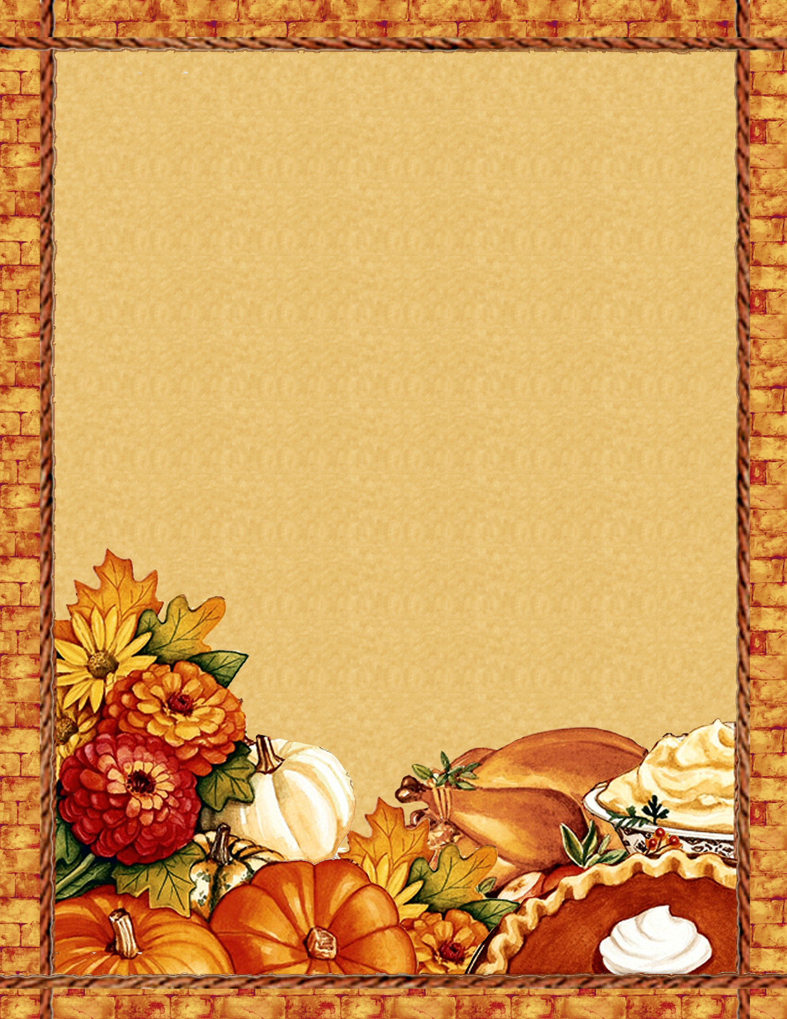 Free Thanksgiving Blank Recipe Page