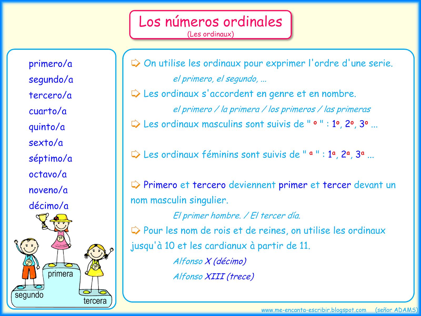 Los Numeros Ordinales 02 Me Encanta Escribir En Espa C3