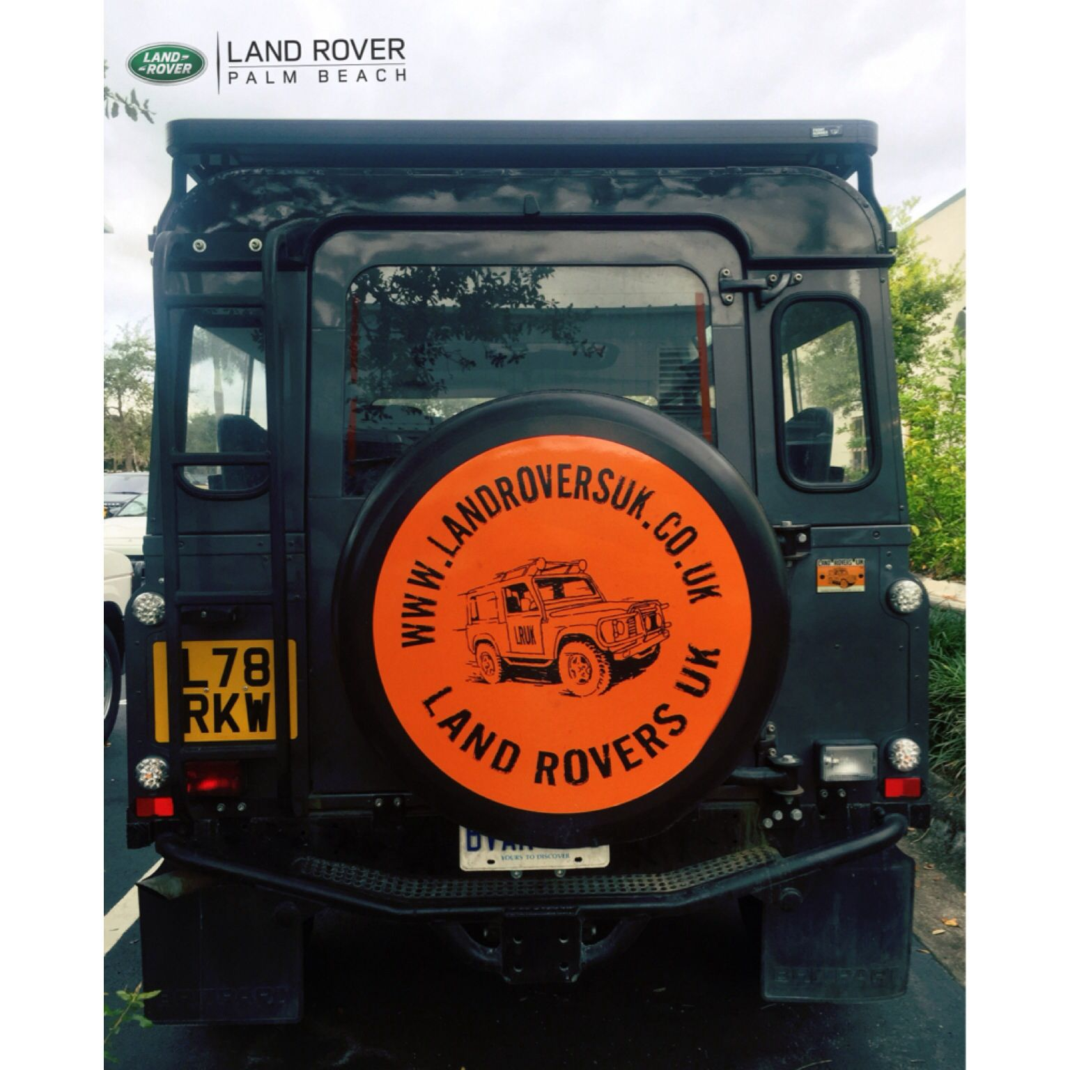 What does your Tire Cover say landroverpalmbeach landrover