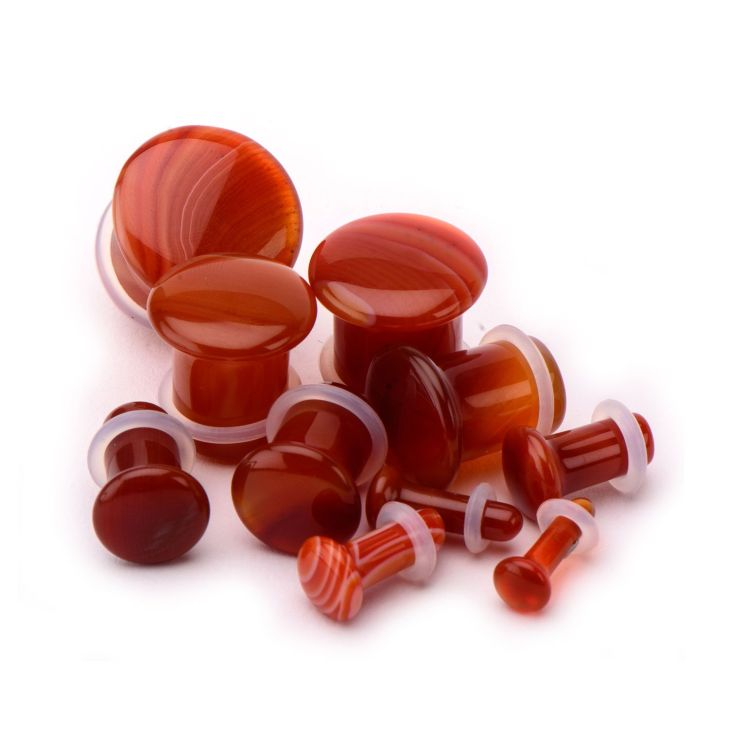 Single Flare Red Stripe Agate Plugs These plugs have a little