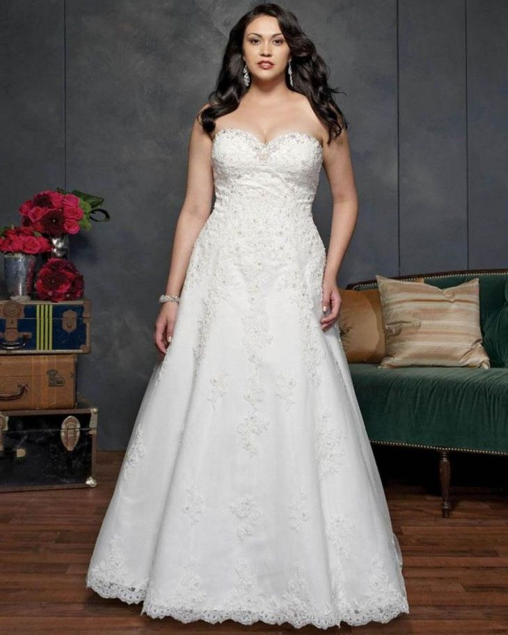 Plus Size Wedding Dresses Detachable Straps Sweetheart Court Train
