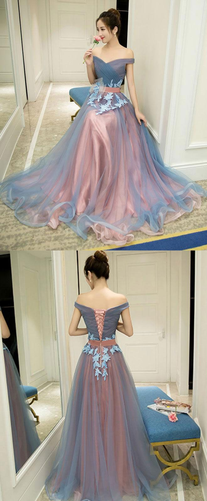 Gray blue tulle off shoulder long prom dress gray blue evening