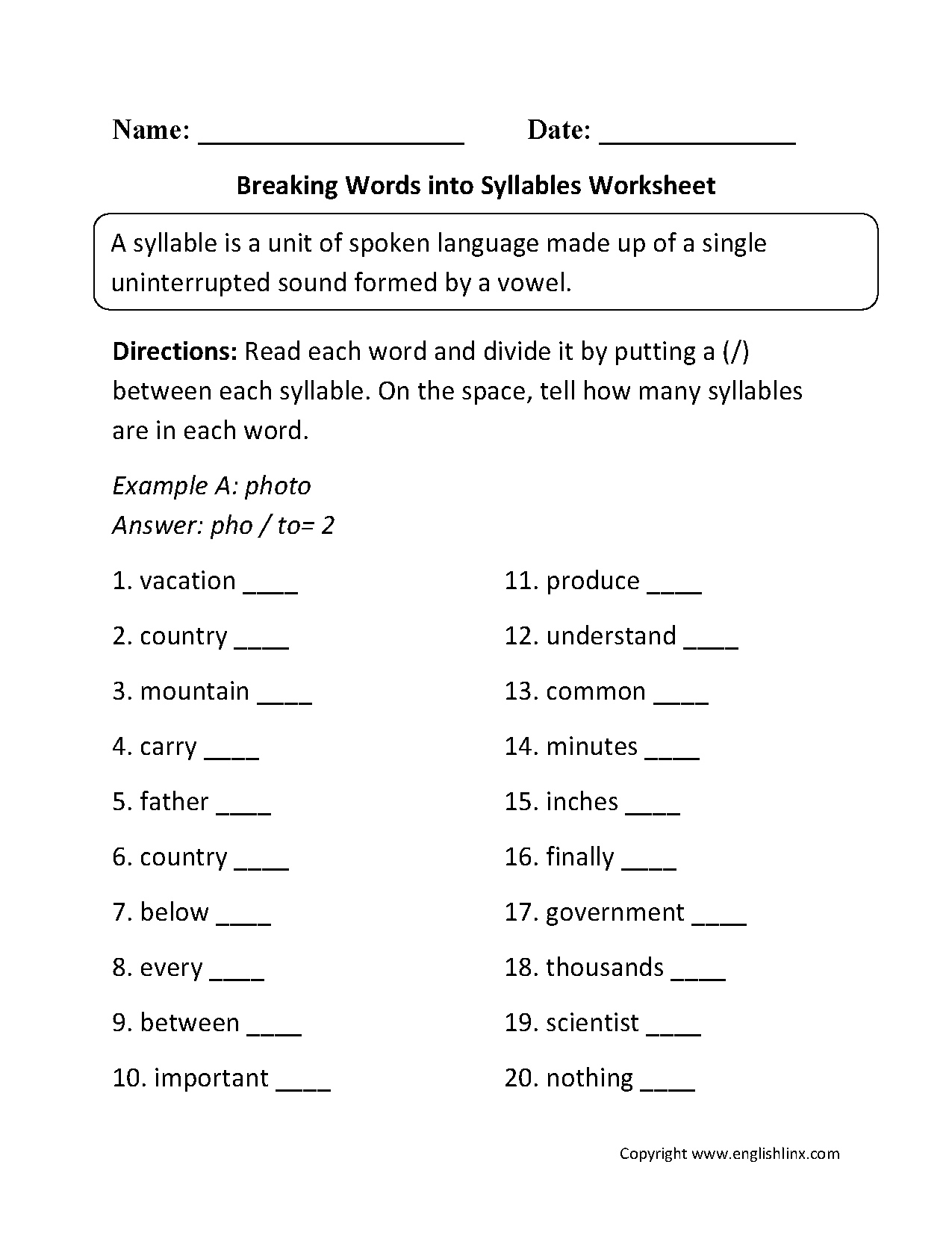 Breaking Words Into Syllables Worksheets