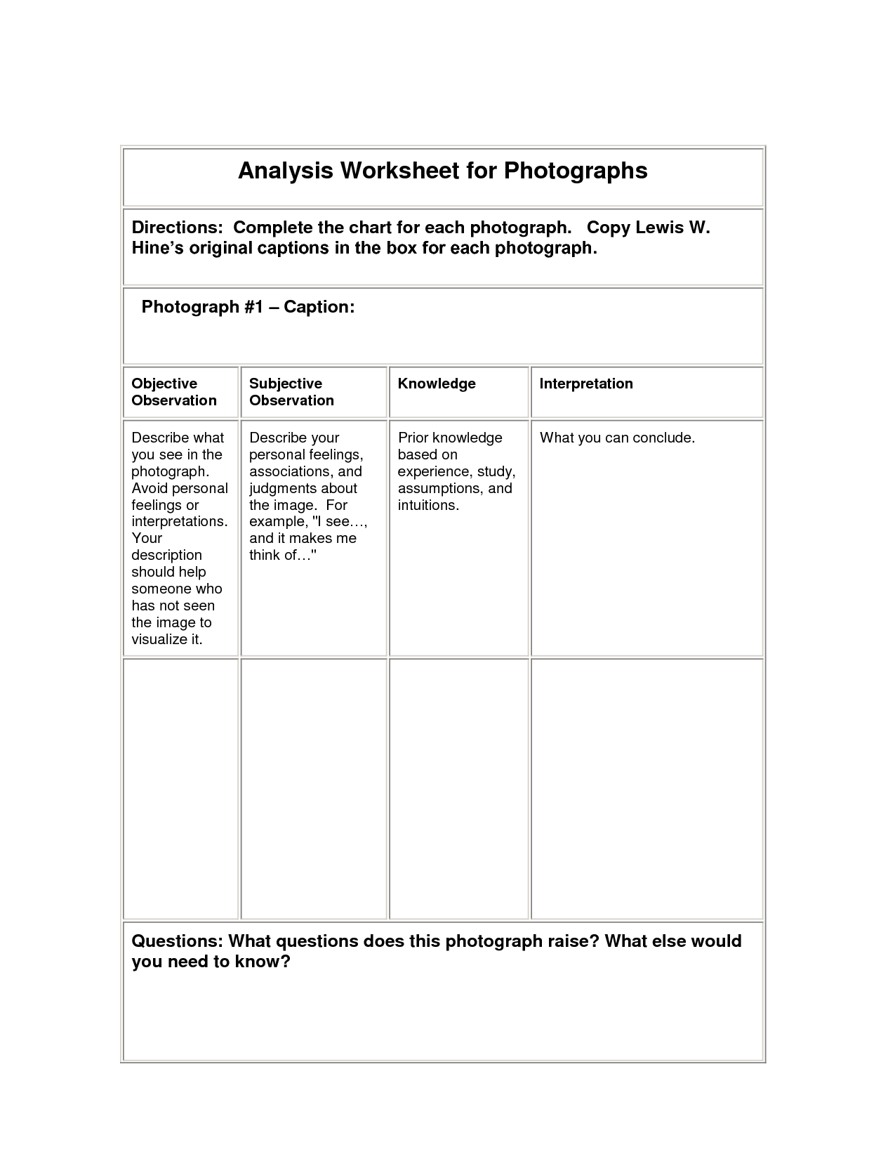 Ysis Worksheet For Lewis Hine Photographs