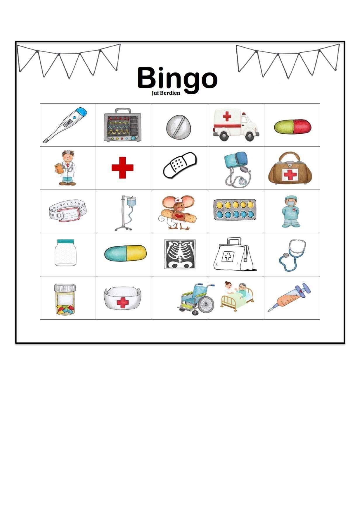 Juf Ber N Thema Ziek Zijn Bingo Spel Kleuters Klas