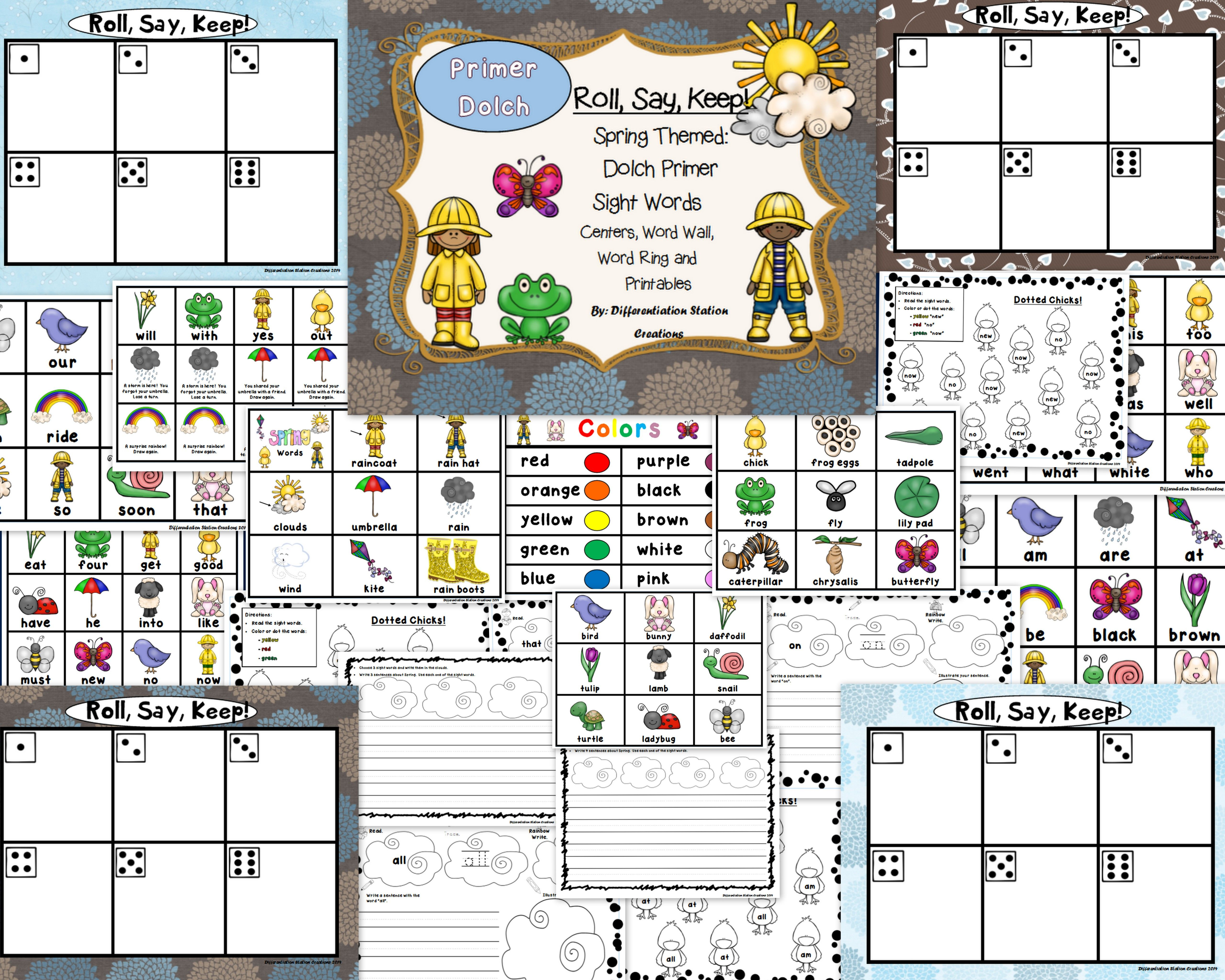Spring Roll Say Keep Primer Dolch Sight Word Center