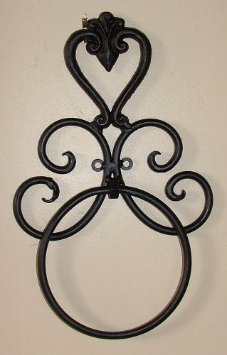 wrought iron bathroom accessories - bl/br - heart - wall towel
