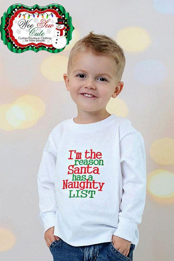 Boys Christmas Santa Embroidered Long Sleeve Shirt By